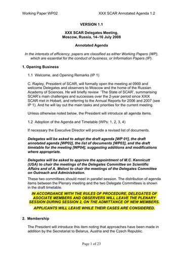 SCAR XXX WP02: Annotated Agenda
