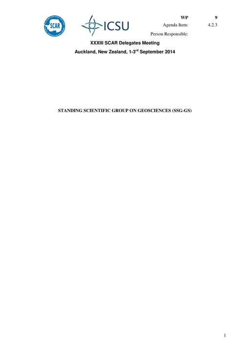 SCAR XXXIII WP09: Report of the SCAR Standing Scientific Group on Geosciences (SSG-GS)