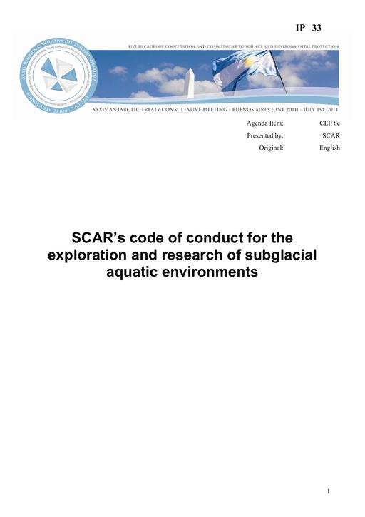 IP033: SCAR's Code of Conduct for the Exploration and Research of Subglacial Aquatic Environments