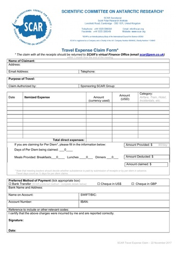 Scar Travel Claim Form
