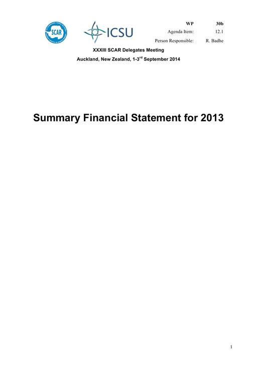 SCAR Summary Financial Statement 2013