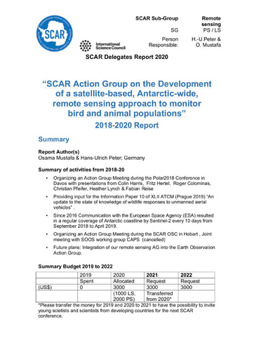 Remote Sensing Action Group Report 2020