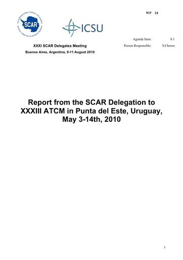 SCAR XXXI WP24: Report of SC-ATS, Punta del Este, Uruguay, 2010