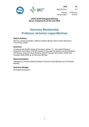 SCAR XXXV WP06: Honorary Membership for Jerónimo López-Martínez