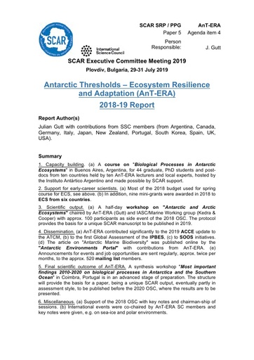 SCAR EXCOM 2019 Paper 5: Report from AnT-ERA SRP