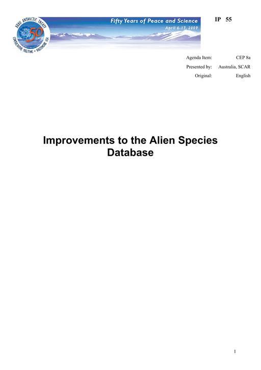IP055: Improvements to the Alien Species Database
