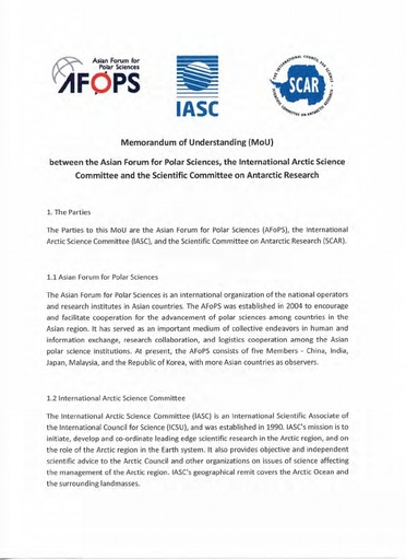 MoU between AFoPS, IASC and SCAR, signed 26 August 2016