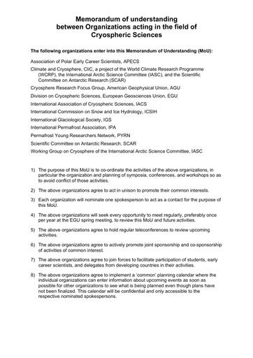 MoU between Cryospheric Research Organisations, 2012