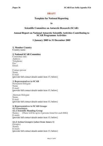 SCAR EXCOM 2005 36: National Reports to SCAR