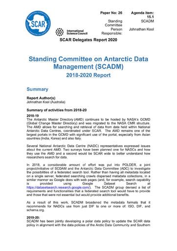 SCAR XXXVI Paper 26: Report of Standing Committee on Antarctic Data Management (SCADM)