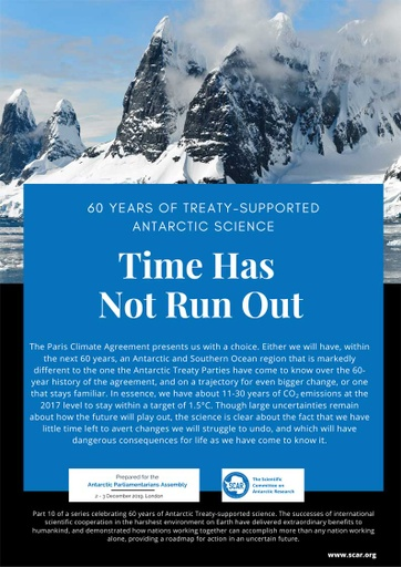60 Years of Treaty-Supported Antarctic Science - Time Has Not Run Out