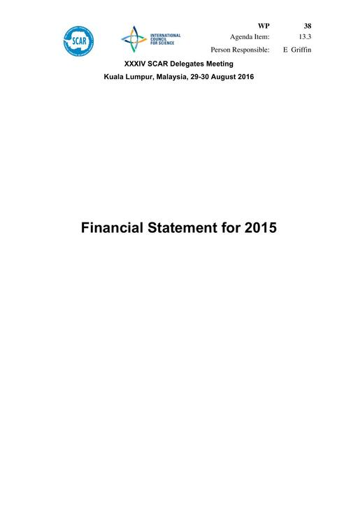 SCAR Full Financial Statement 2015