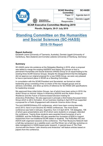 SCAR EXCOM 2019 Paper 17: Report from SC-HASS
