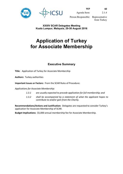 SCAR XXXIV WP04d: Application of Turkey for Associate Membership