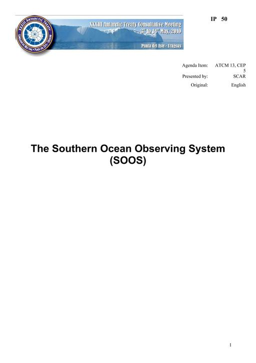 IP050: The Southern Ocean Observing System (SOOS)
