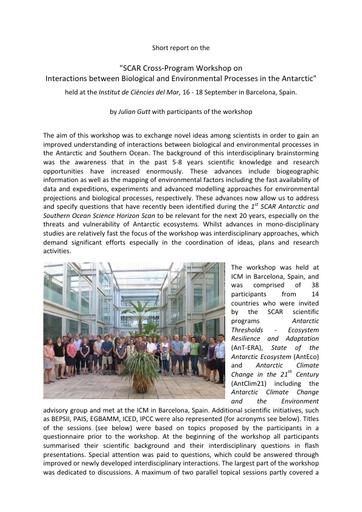 SCAR Cross-Programme Workshop 2015 - Report