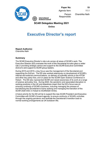 SCAR XXXVI Paper 19: Executive Director's Report