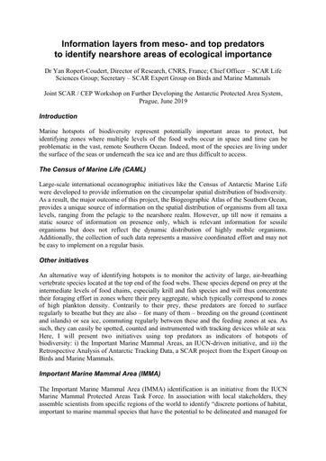 SCAR Presentation 1: Areas of Ecological Importance (Yan Ropert Coudert)