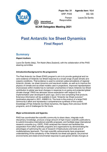 SCAR XXXVI Paper 31: Final Report of SRP PAIS (Past Antarctic Ice Sheet Dynamics)