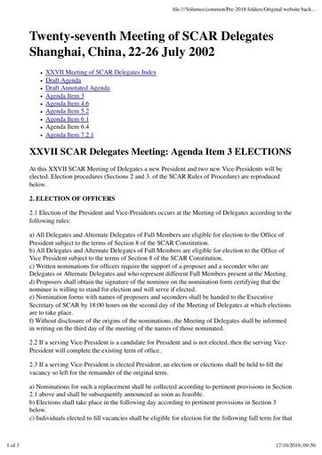 SCAR XXVII Paper 3: Election Proceduress