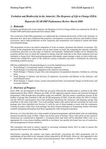 SCAR XXX WP16: Report on Evolution and Biodiversity in the Antarctic (EBA)