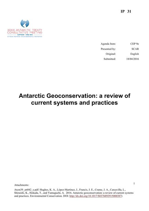 IP031: Antarctic Geoconservation: a Review of Current Systems and Practices