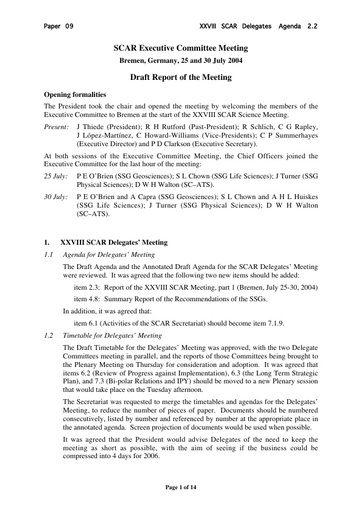 SCAR XXVIII 09: Report of the SCAR Executive Committee Meeting, Bremen, July 2004