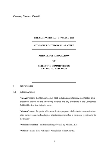 Articles of Association, May 2018