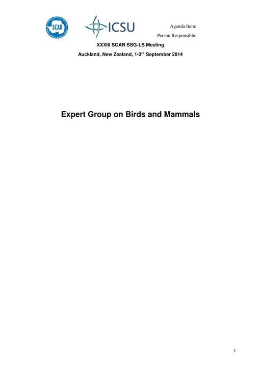 Expert Group on Birds and Mammals (EG-BAMM) Report 2014