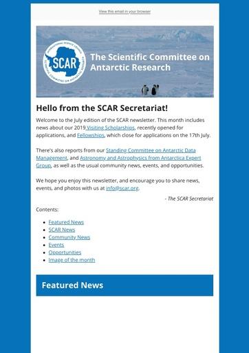 SCAR Newsletter July 2019