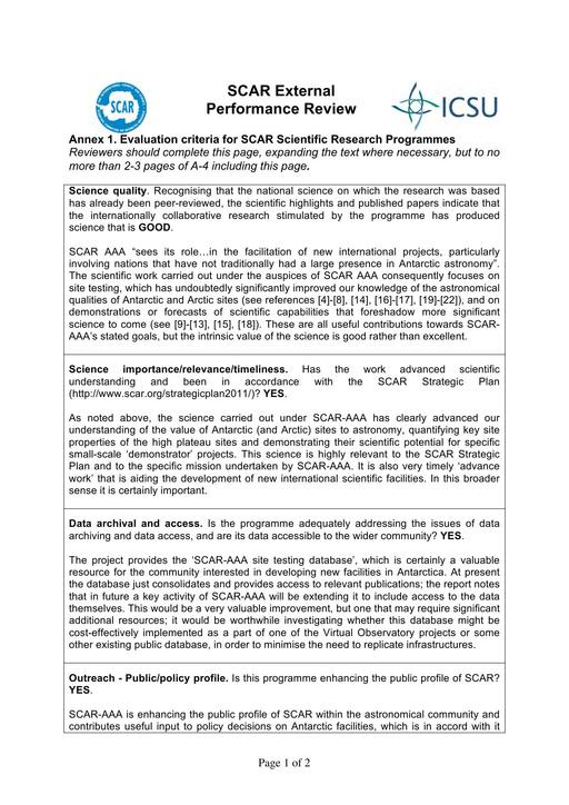 SCAR XXXIII: External Performance Review of AAA (Astronomy & Astrophysics from Antarctica) 2