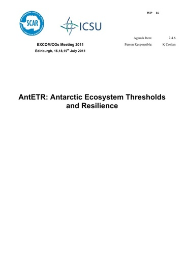 SCAR EXCOM 2011 WP16: Report on PPG Antarctic Ecosystems: Adaptations, Thresholds and Resilience (AntETR)