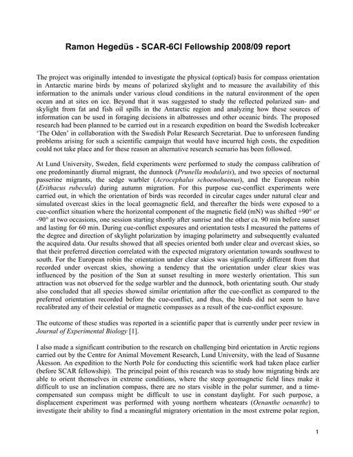 Hegedüs 2008 Fellowship Report