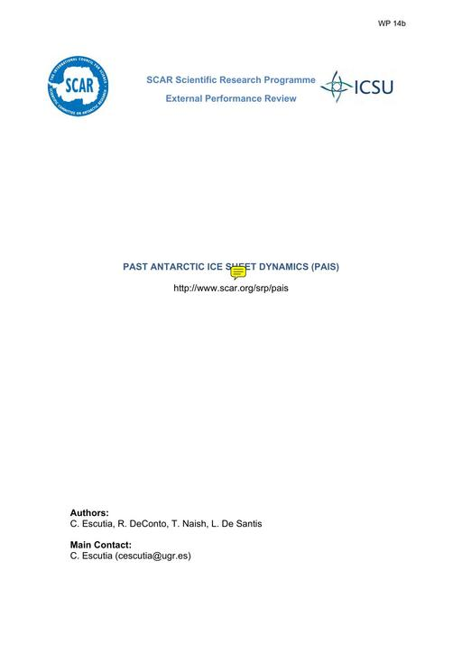 SCAR XXXIV WP14b: PAIS External Review Report- Summary, Recommendations and Response