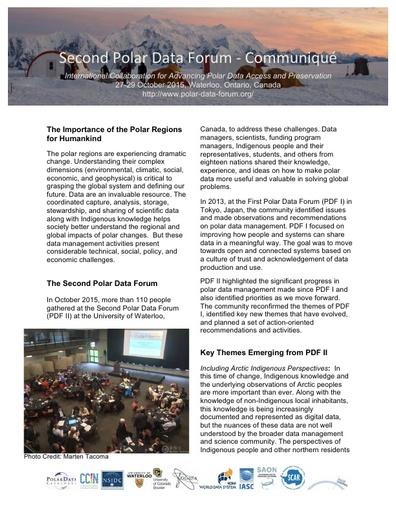 Communiqué of the Second Polar Data Forum