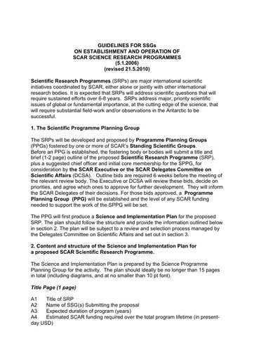 Guidelines for the establishment of Scientific Research Programmes