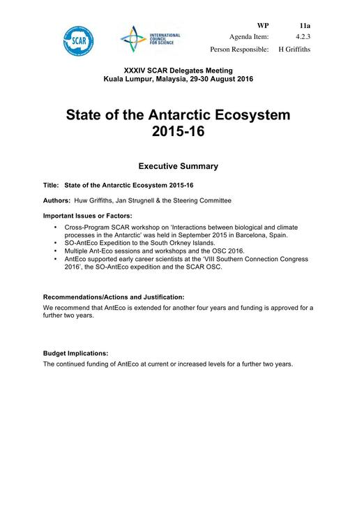 SCAR XXXIV WP11a: Report on AntEco (State of the Antarctic Ecosystem)