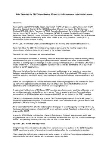 Brief Report of the CBET Open Meeting, held on 27 August 2016