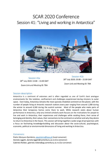 """SCAR 2020 Conference Panel on """"Living and Working in Antarctica"""""""