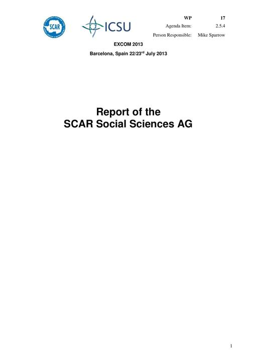 SCAR EXCOM 2013 WP17: Report from the SCAR Social Sciences Group
