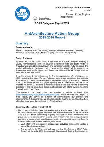 AntArchitecture Action Group Report 2020