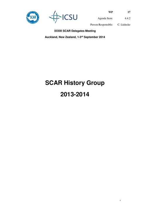 SCAR XXXIII WP17: Report from the SCAR History Group