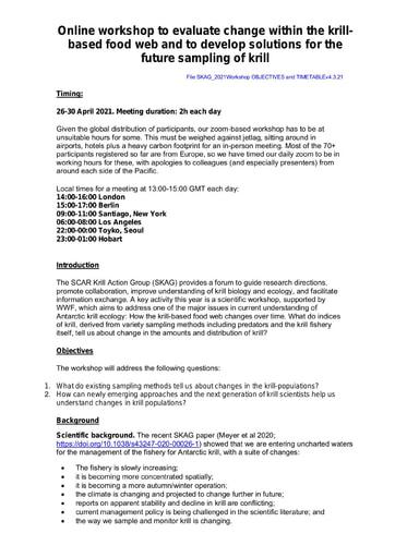Detailed information for SKAG Workshop, April 2021