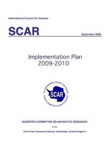 SCAR Implementation Plan 2009-2010
