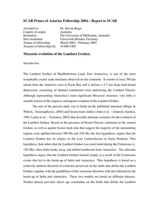 Boger 2003 Asturias Fellowship Report