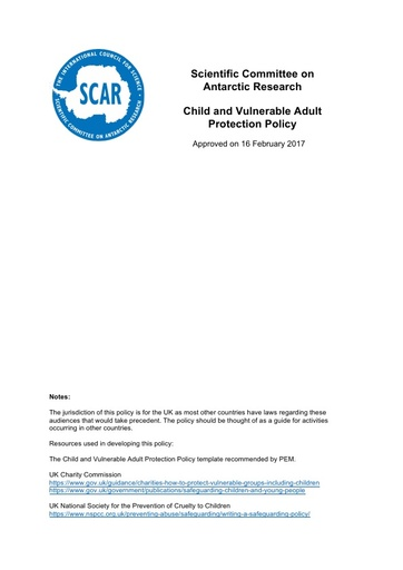 SCAR Child Vulnerable Adult Policy 2017
