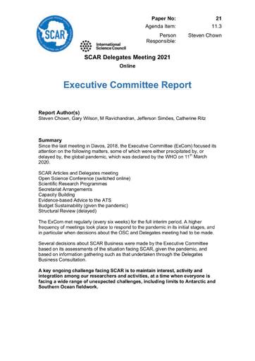 SCAR XXXVI Paper 21: Executive Committee Report