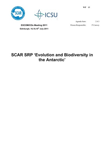 SCAR EXCOM 2011 WP13: Report of SCAR SRP Evolution and Biodiversity in the Antarctic (EBA)