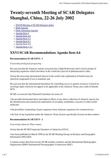 SCAR XXVII Paper 4: Recommendations from XXVI SCAR