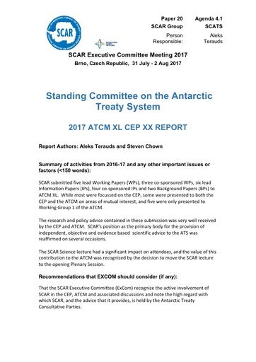SCAR EXCOM 2017 Paper 20: Report of SCAR Delegation to XL ATCM and CEP XX
